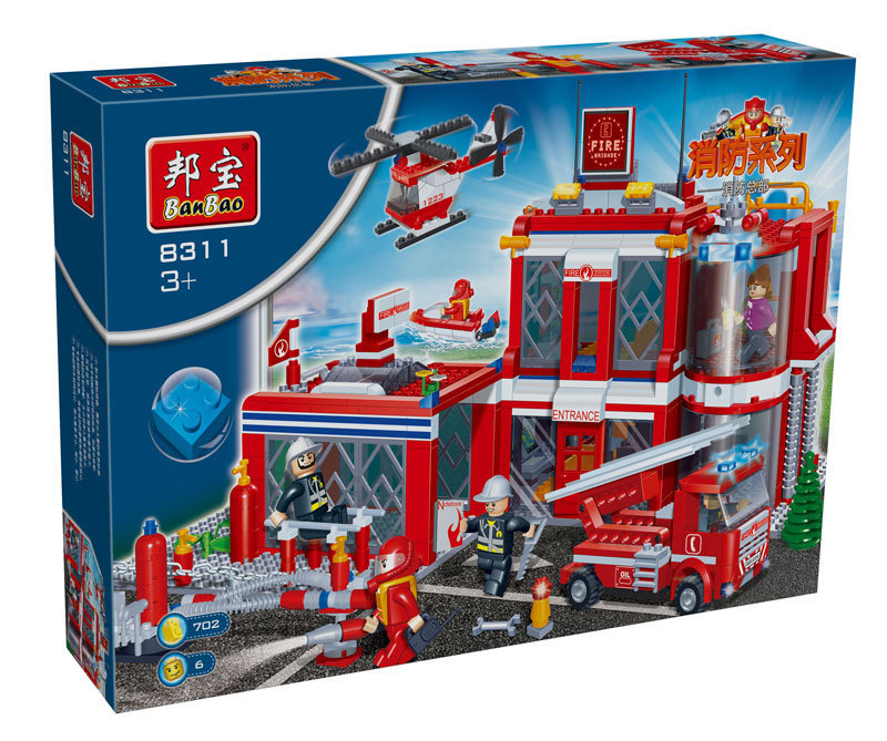 building block set compatible lego new city firehouse 3D Construction Brick Educational Hobbies Toys Kids