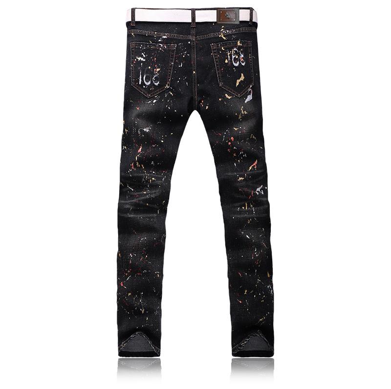 Скидки на Узкие джинсы мужчин Slim Ноги штаны карандаш джинсы черная Дыра pantalones вакеро hombre джинсовые комбинезоны поддельные дизайнер одежды G223