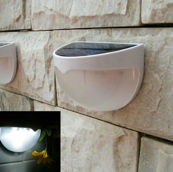 10pcs/lot Solar Powered LED Rechargeable 6 LED Fence Garden Solar Light Lawn Fence Wall Solar Lamp Outdoor Pathway Spot Lighting(China (Mainland))