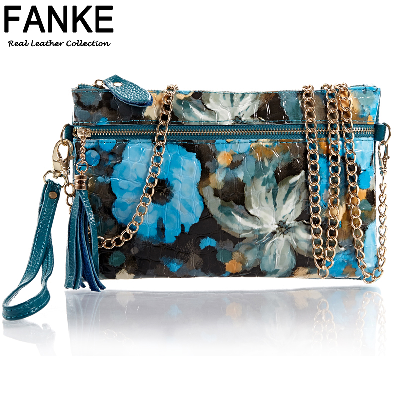 New 2015 European And American Style Genuine Leather Cowhide Women Messenger Bags Painting Handbags Bag Cross Body Day Clutch<br><br>Aliexpress