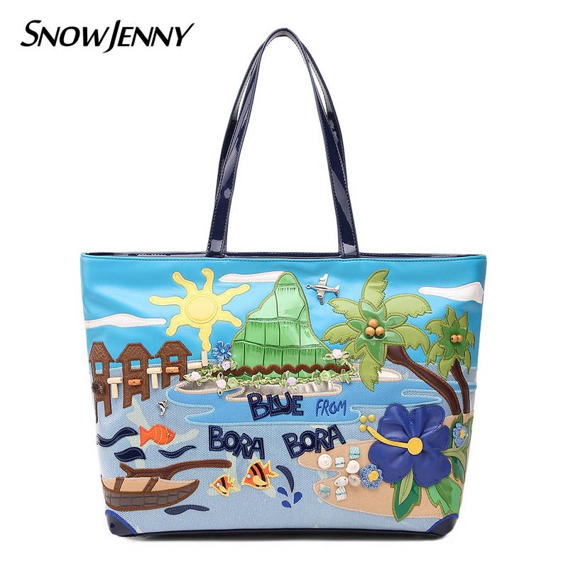 2016 Borsa Kemio Braccialini brand Italy Handicraft Art Island Scenery fashion Women Shoulder Bag Female Handbag Tote Bag(China (Mainland))