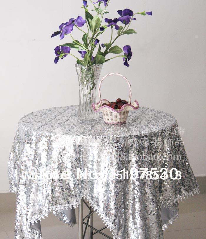Freeshipping luxury whole silver rectangle round sequin tablecloth home decor tablecloths table mat papel de parede table cover(China (Mainland))