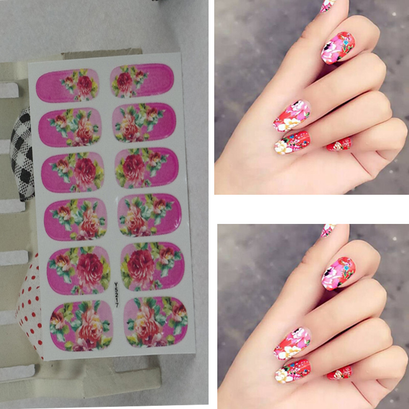 Full Nail WRAPS Art adhesive Sticker False Nails Foil decals Manicure Decor Tools Cover design roseo fresh flower(China (Mainland))