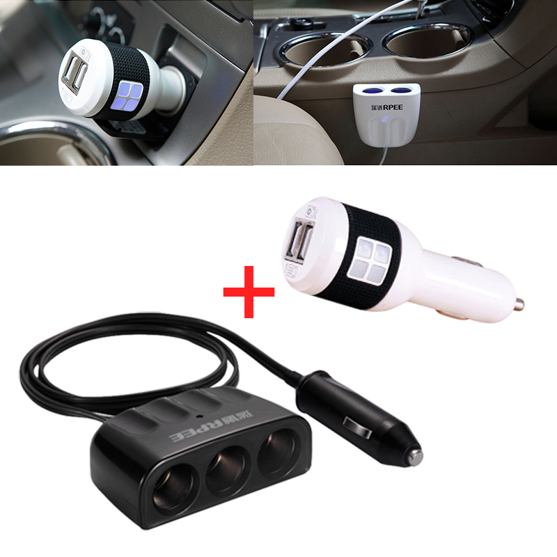 car charger 12v 2a adapter usb dual chargers cigarette lighter battery motorcycle cargador socket 2.1a 220v inverter splitter(China (Mainland))