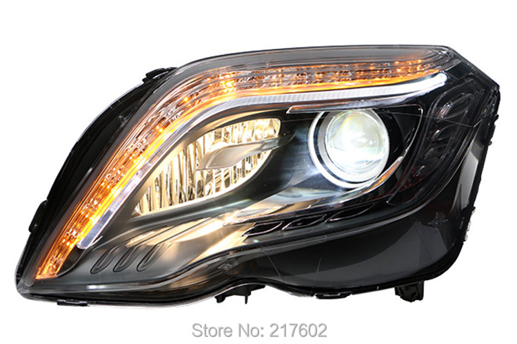 for Mercedes Benz GLK 2013 Projector head lights LED DRL & LED turn light Black-Halogen Model Only low beam dual lens(China (Mainland))