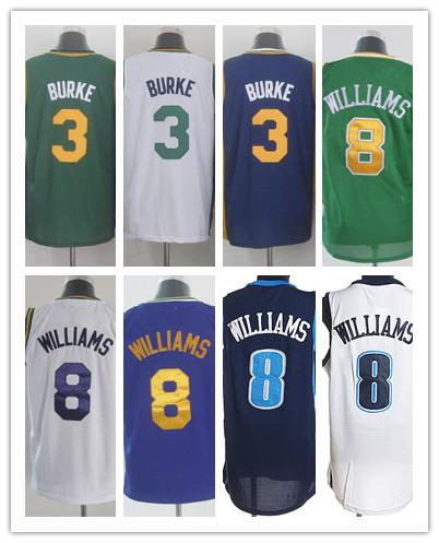 Hot Sale Utah Jerseys #3 Trey Burke,#8 Deron Williams Men's Throwback Basketball Jerseys Stitched Embroidery Logos Jerseys(China (Mainland))