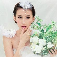 Feather Hair Accessories Bridal Headdress Korean Bridal Hair Accessories Wedding Tiara Vintage Pearl Jewelry Princess Headdress