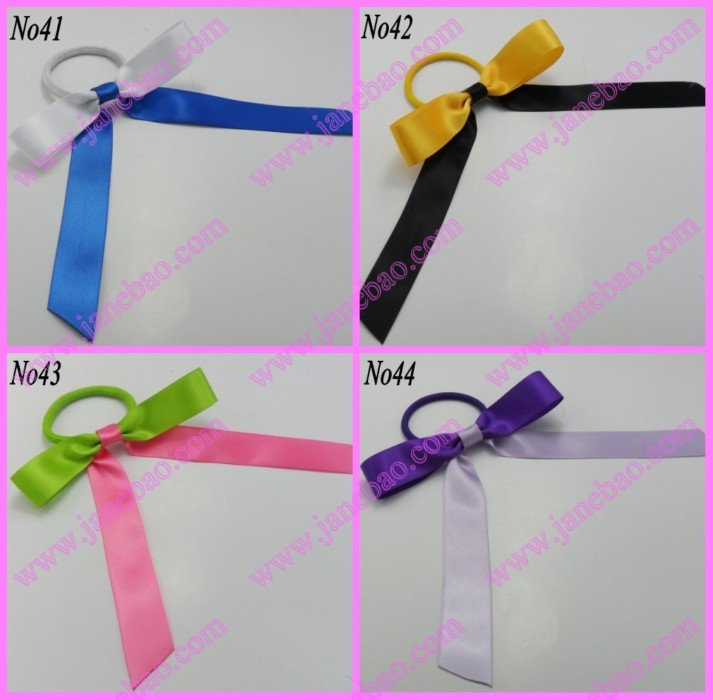 free shipping 1000pcs Sport Pony O Hair Bow Ponytail Streamers mix color ponytail holder bows(China (Mainland))