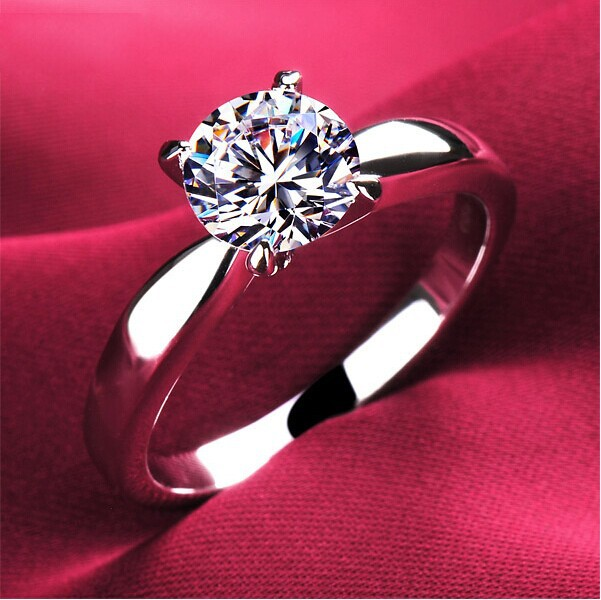 High quality 1.2carat 4 claws CZ diamond Rings for women 18K platinum plated Jewelry Engagement alliance USA size(Hong Kong)