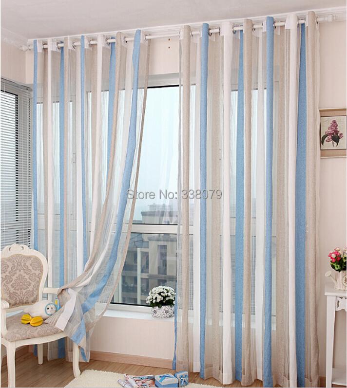wohnzimmer blau braun:Blue Striped Sheer Curtains