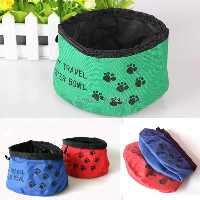 Free Shipping Pet Travel Water Bowl Oxford Folding Portable Dog Cat Bowl 15cm*9cm(China (Mainland))