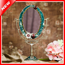 Antique Mirror Vintage Beauty Makeup Mirror Cosmetic Dressing Mirror Table Standing Makeup Mirror Photo Frame For Decoration(China (Mainland))