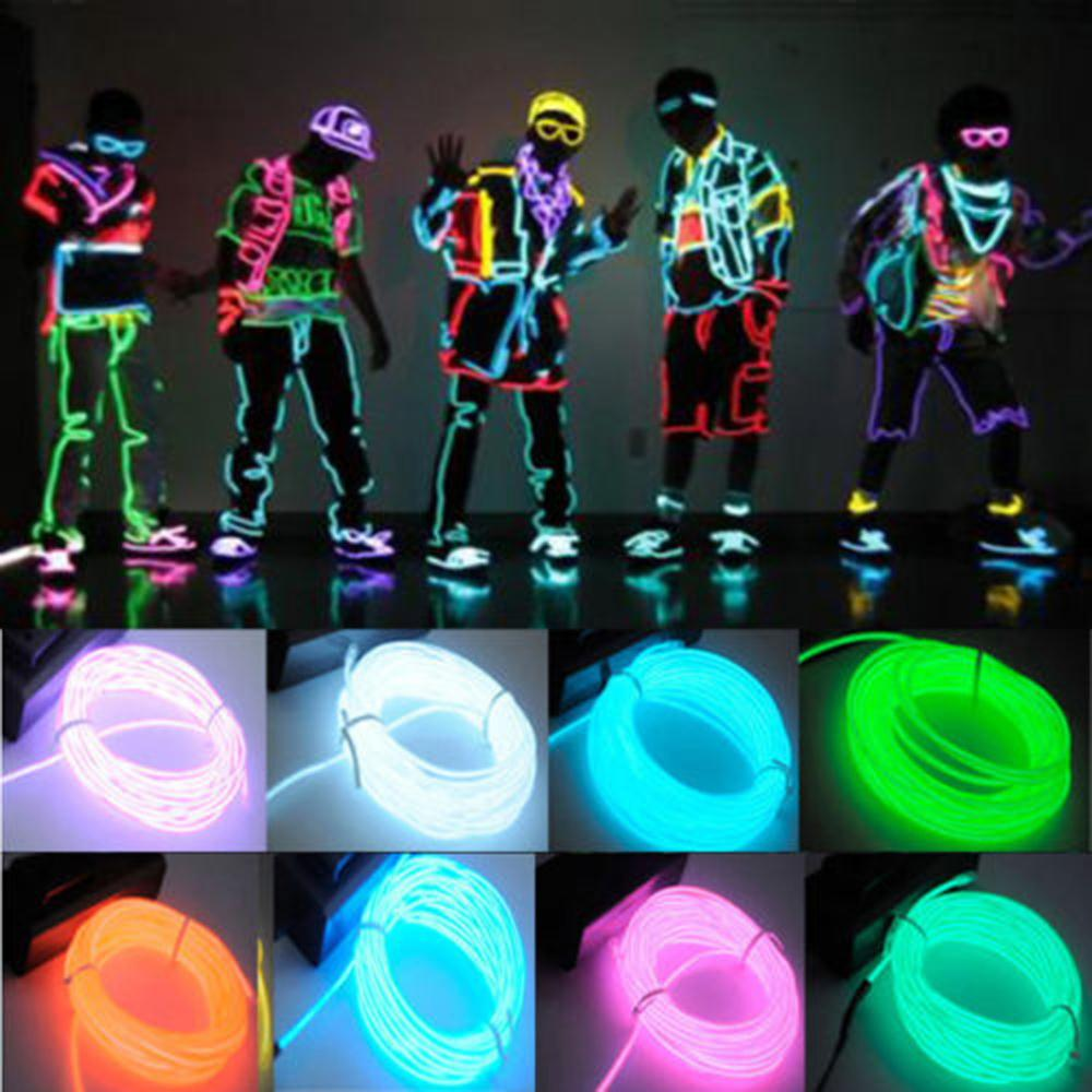 1pcs3m Flexible EL Wire Rope Neon Light Glow With Controller For Party Dance Car Decor(China (Mainland))
