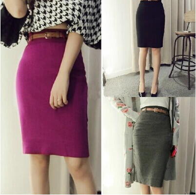 2014 Autumn Winter Long Ankle Stretch Knit Skirt Women Fashion Pencil Solid Color Empire - girl' store