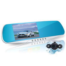 New 4.3 inch car rearview mirror dvr dual lens car dvr full hd 1080p video recorder car camera reverse image vehicle dash cam