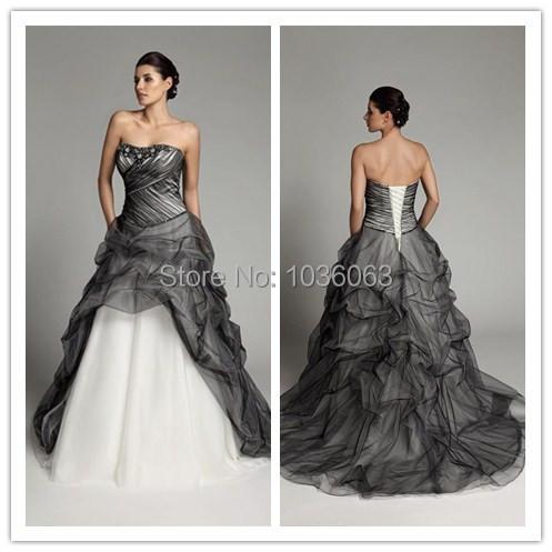 2015 новые приходят милая бисером бальное платье свадебное платье черный и белый пухлый кружева-up рукавов развертки-length пользовательского свадебные платья