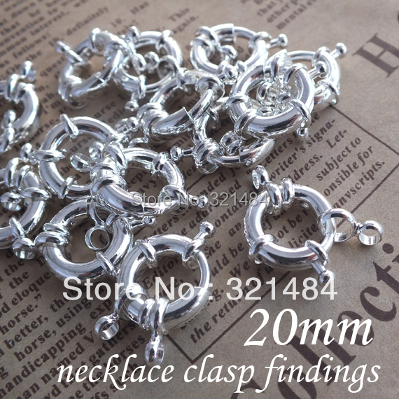 Free ship! 20mm 100pcs Shiny Silver Plated Tone Metal Circle Wheel Buckle, Round Claw Spring Ring Clasps Findings Accessories<br><br>Aliexpress