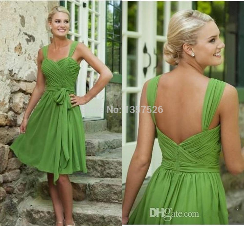 Cheap green knee length bridesmaid dresses chiffon a line for Made of honor wedding dress