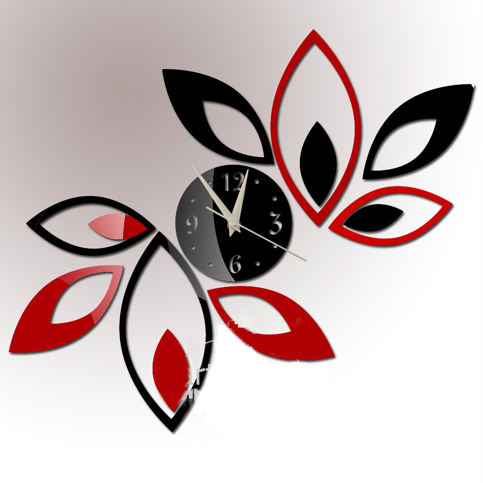 Black Silver DIY Flowers Mirror Clock Wall Home Decoration Modern Art Design 3D wall Stickers xr091 - EMILYGU KIDS FASHION STORE store