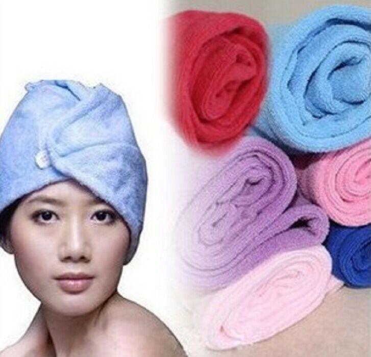 10pcs Super towel absorbent cotton hair cap magic microfiber dry hair towels wrap for hair drying Free shipping Tz58(China (Mainland))