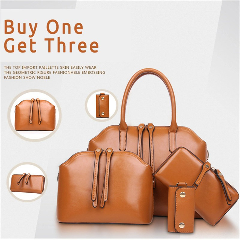 4 Pieces/Set 2016 New Spring Summer Women Fashion Genuine Cowhide Leather Tote/Handbag Shoulder Bags Purse Key Holder 3 Colors