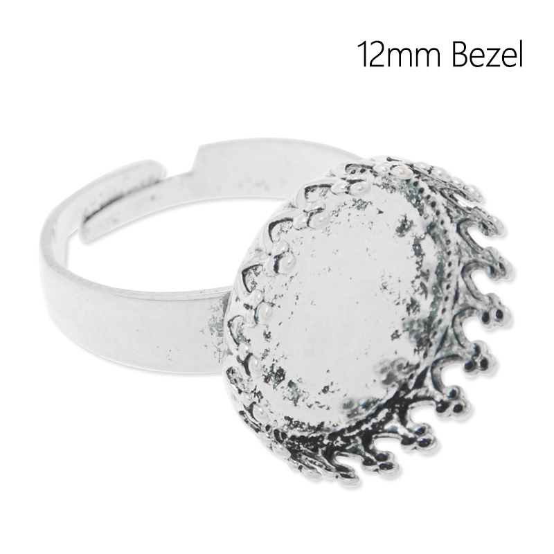 12 mm Bezel Antique Silver Plated Ring Blanks Ring Tray Setting For Cabochons or Stickers, 20 pcs per package-C4687