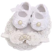 Infantil beyaz ayakkabı Taklidi Bebek Ayakkabı Kızlar taç Seti; Inci Ayakkabı bebek çizmeleri Yenidoğan Bebekler Ayakkabı Ilk Yürüyüşe(China)