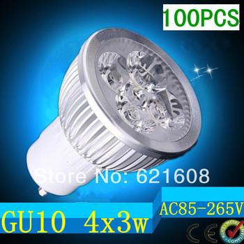 100pcs/lot Dimmable GU10/e27/e14/gu5.3 4X3W 12W  Led Lamp Spotlight 85V-265V Led Light downlight High Power free shipping