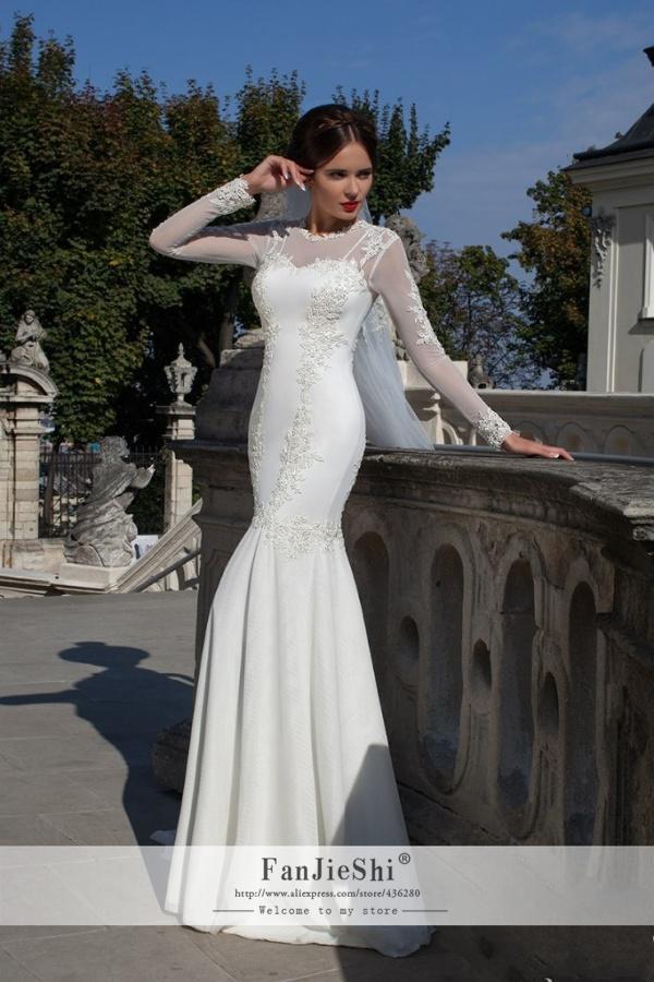 Fashion Vestido De Noiva Long Sleeve Scoop Neckline Appliques Zipper Back 2015 Elegant Mermaid Wedding Dresses - Suzhou FanJieShi Dress Co., Ltd. store