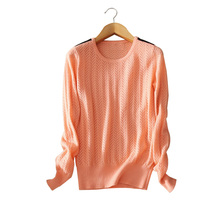 100% cashmere pullovers 5 colors appliques patchwork on the shoulder women's O-neck full sleeve spring/autumn/winter sweater