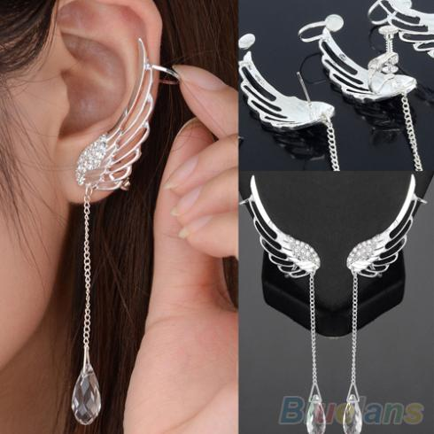 Angel Wing Silver Plated Crystal Chain Drop Dangle Ear Cuff Stud Clip Earrings 1S5X(China (Mainland))