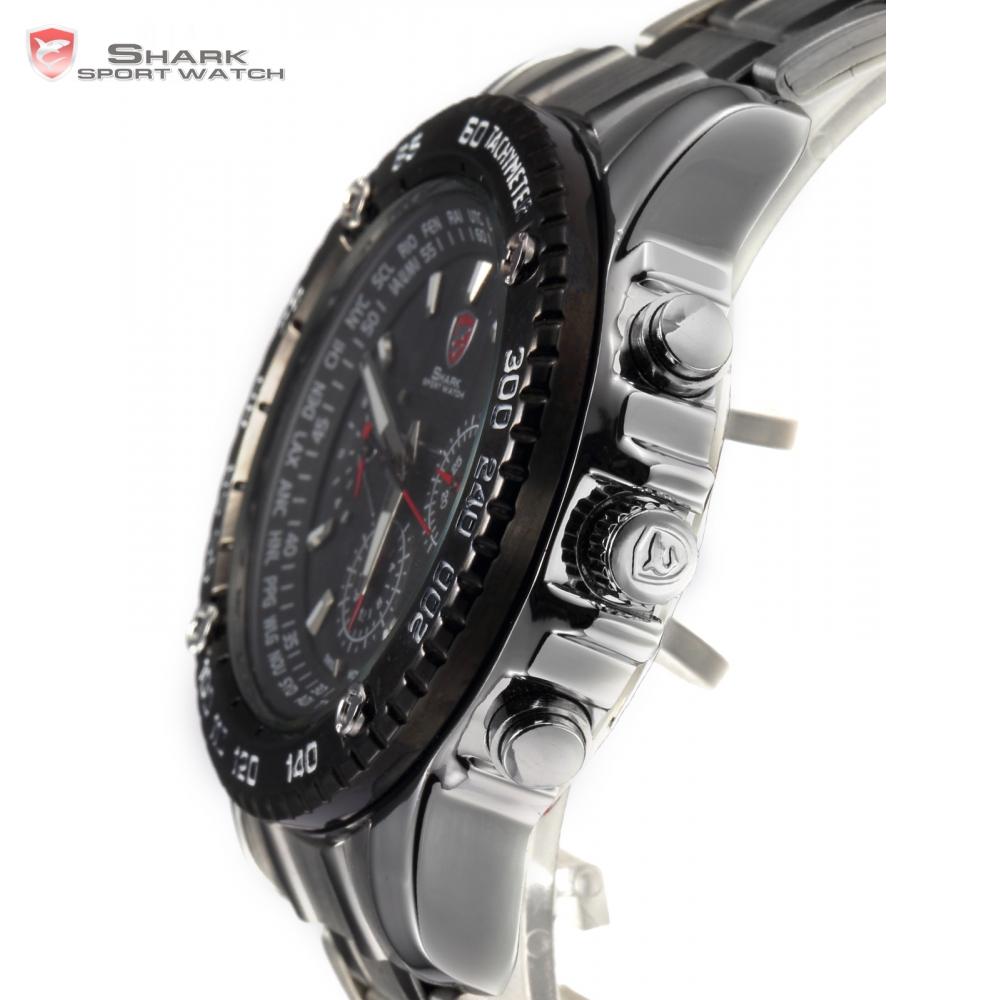 SHARK Sport Watch 6 Hands Day Date Calendar Stainless Full Steel Black Silver Luminous Wrap Men's Quartz Wristwatch Gift / SH015