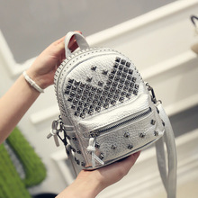Women Mini Backpacks PU Leather Riveting Casual Bags Classical Teenagers Fashion Travel Rivet Back Pack Bag Korean Style SL0548 - Mike Tong's Store store