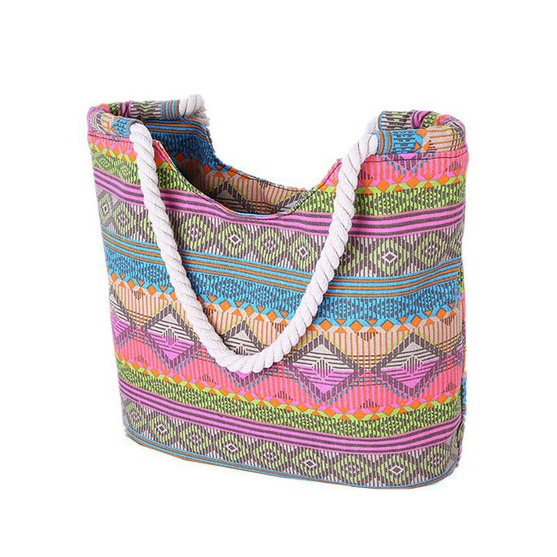 Ethnic Printing Women Canvas Beach Bag New Swimming And Diving Bags Hot Female Shopping Tote Beach Shower Bag(China (Mainland))