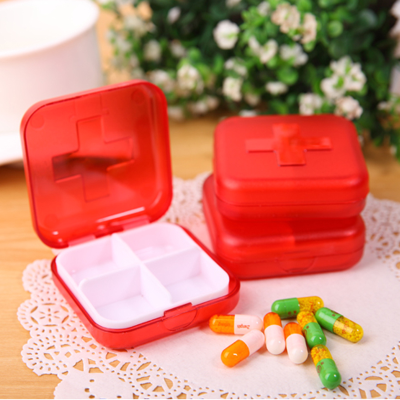 2PCS Portabe Multilayer 4 Compartment Red Moistureproof Pill Box Case Pill Organizer Medicine Box Drugs Pill Container(China (Mainland))