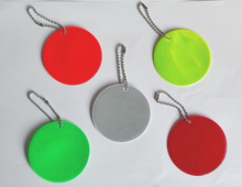 Round reflector,Reflective Pendant for visible safety use dangled on bag,mobile phone,clothing,free shipping(China (Mainland))