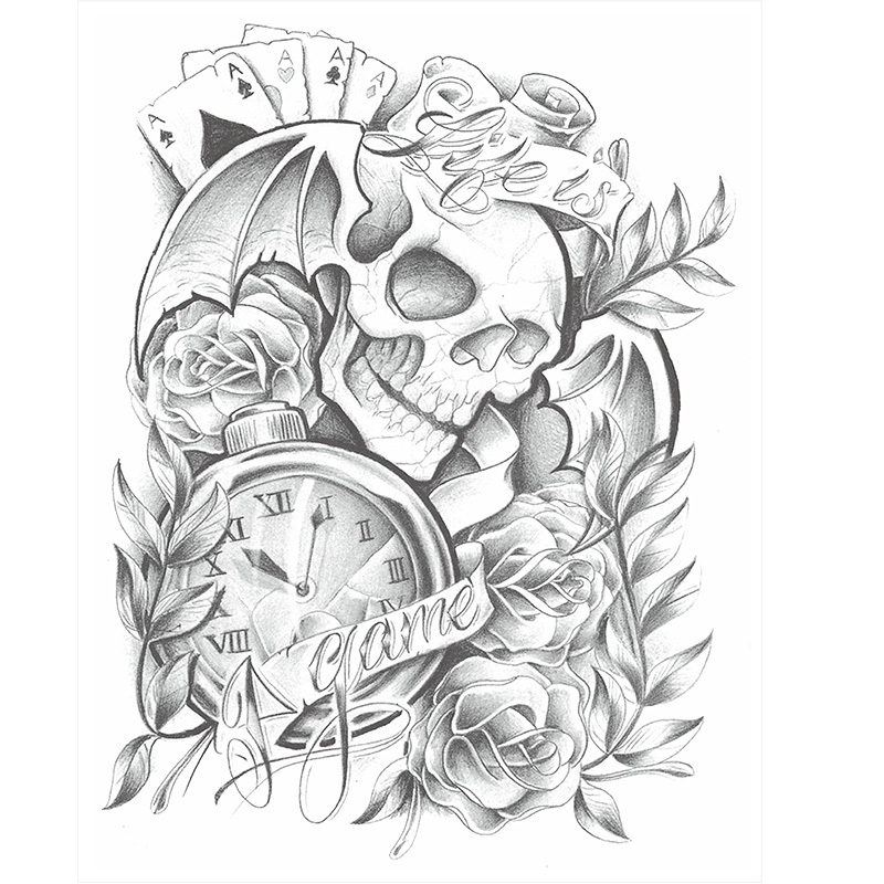 Waterproof Temporary Tattoo Stickers Cute Scary Skull Game Clock Design Body Art Man Woman Sex Products Make Up Styling Tools(China (Mainland))