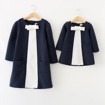 Mom and daughter fashion dresses New Brand big bow family look girl and mother daughter England style dress Family clothes