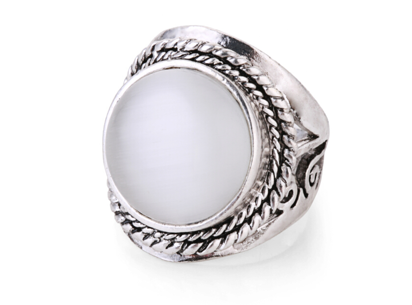 Top Quality Vintage Silver Plated Single Natural Stone Rings Trade Exported Ring Jewelry Accessories For Women(China (Mainland))