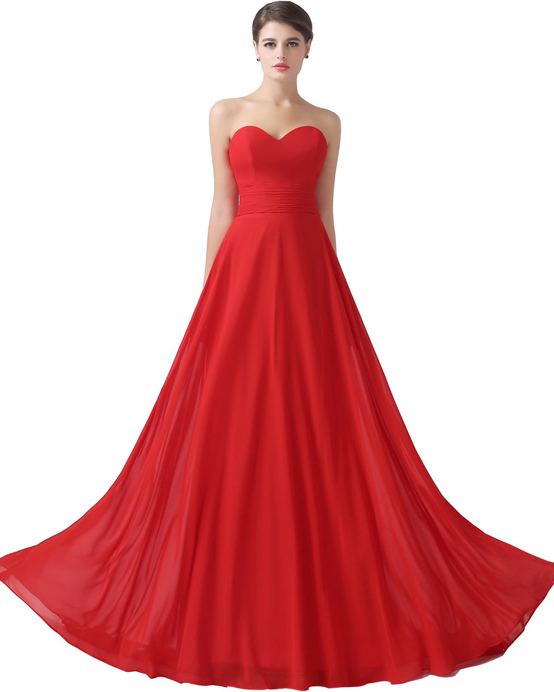 Chiffon sweetheart cheap evening dresses red long prom for Formal dresses for weddings cheap