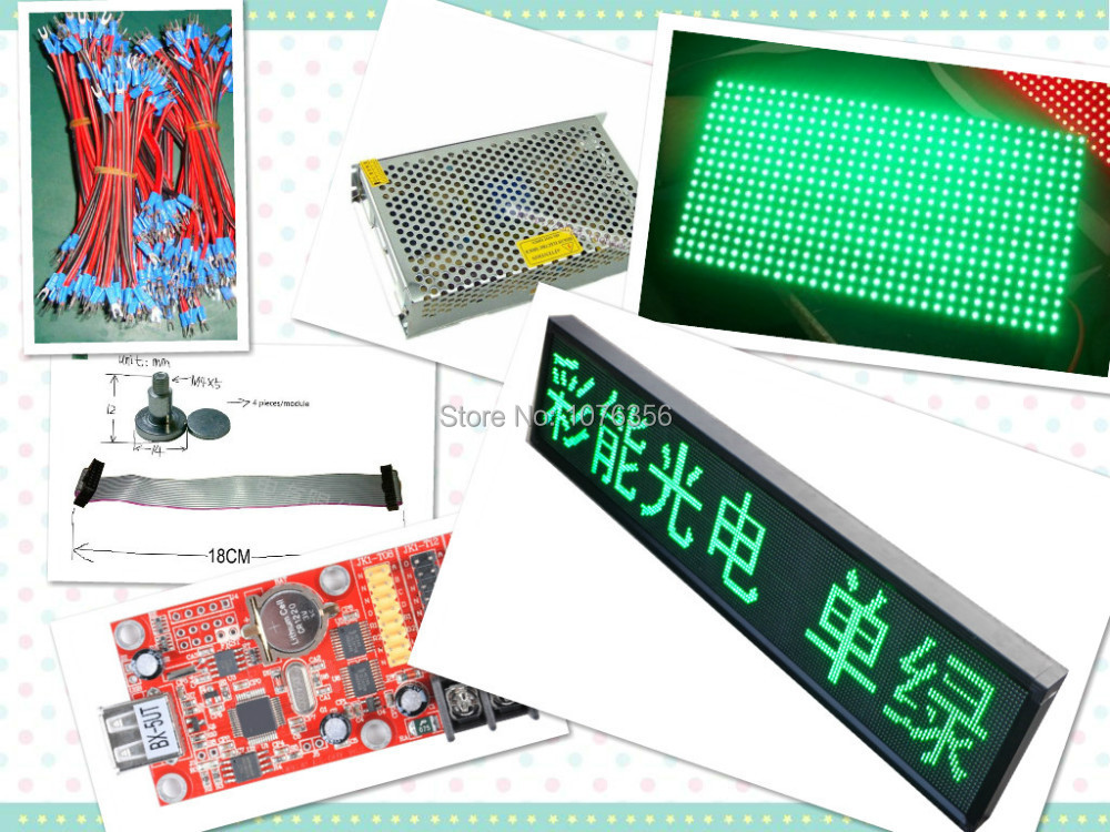 free shipping DIY LED Text Display Electronic kits with 20pcs P10 outdoor green LED module+1 pc led controller+2pc power supply(China (Mainland))