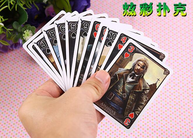 54 pcs/pack Assassins Creed Figures Collection Poker Cards Assassins Creed Playing Cards Color Box Packing Kid Together Game Toy(China (Mainland))