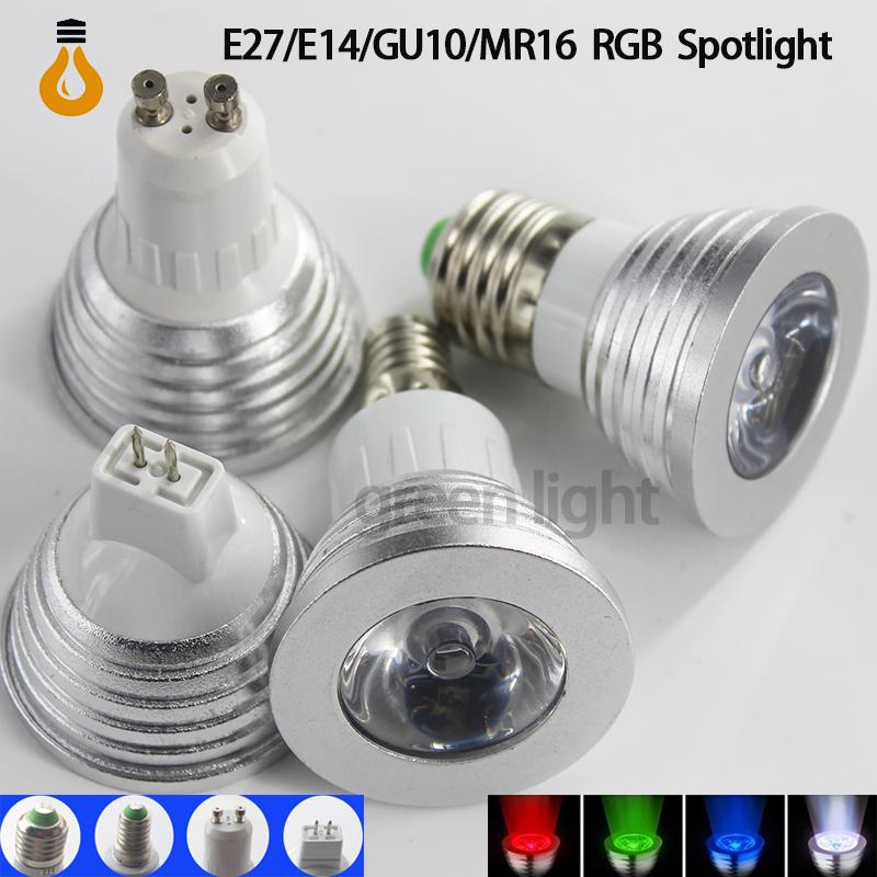 Wholesale 9W RGB LED Spotlight GU10 E27//E14/MR16 16 colour High Tech LED Lamp Spot light + IR remote control Free shipping(China (Mainland))