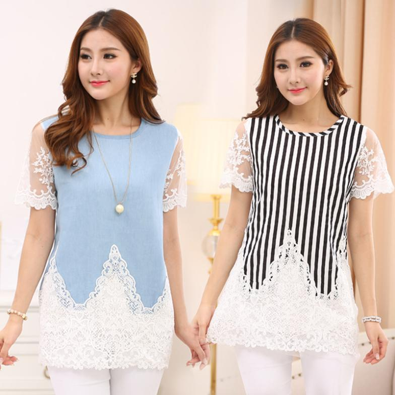 2016 Summer plus size clothing lace patchwork denim one-piece stylish dress which make you more sweety and prettier WW053(China (Mainland))