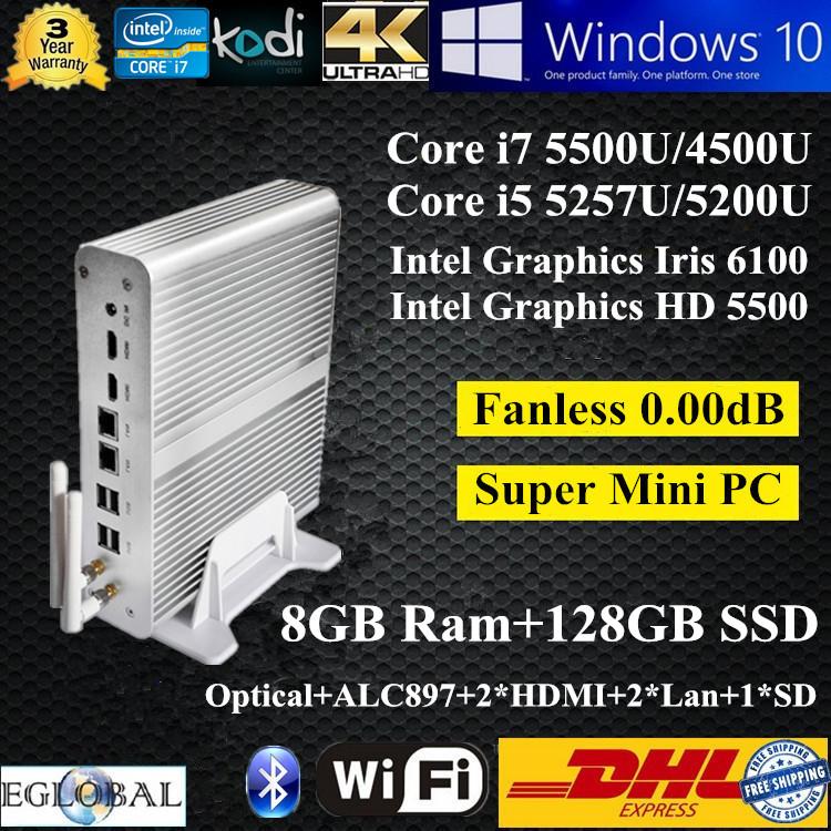 Best Mini PC Micro PC 8GB Ram 128GB SSD 5Gen Broawell Intel Core i7 5500U i5 5257U Graphics Iris 6100 Windows TV Box HTPC 4K HD(China (Mainland))