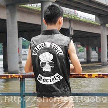 Black Label Society Male Vest Denim Vest Waistcoats Motorcycle Jackets Sports Top Free Shipping C380(China (Mainland))