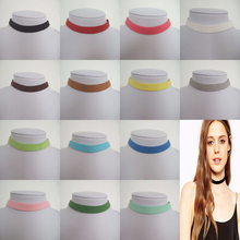"Adjustable 10mm Flat Gray Pink Black Dark Brown White Light Blue Faux Suede Cord Choker Necklace 13"" 13 Colors For Choices(China (Mainland))"