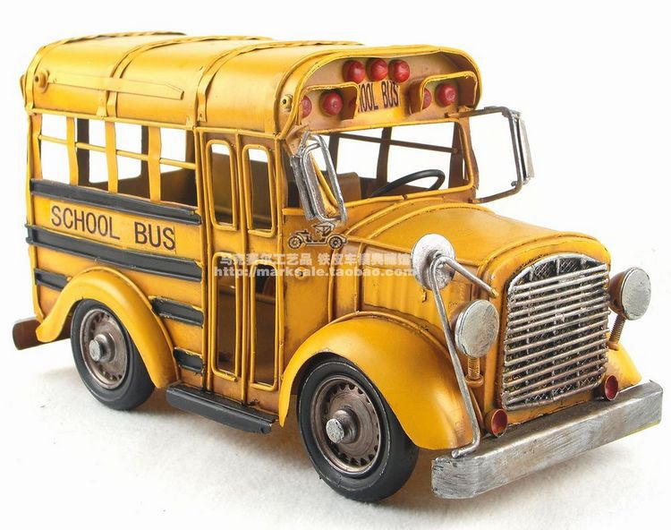 New arrival birthday gift for children boyfriends handmade iron metal vintage 60s school bus yellow car model free shipping(China (Mainland))