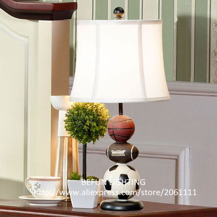 For kids Basketball Football Rugby lamp body cloth lampshade unique childrens bedside lights E27 lamp base bedroom table lamps(China (Mainland))
