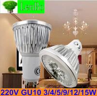 Dimmable High Power spot light 4pcs/lot  220V GU10 3W 4W  9W 12W 15W  AC85-265V  LED spotlight  tubes bulb  Lighting lamps LS72